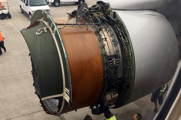 United airlines engine cover blows off