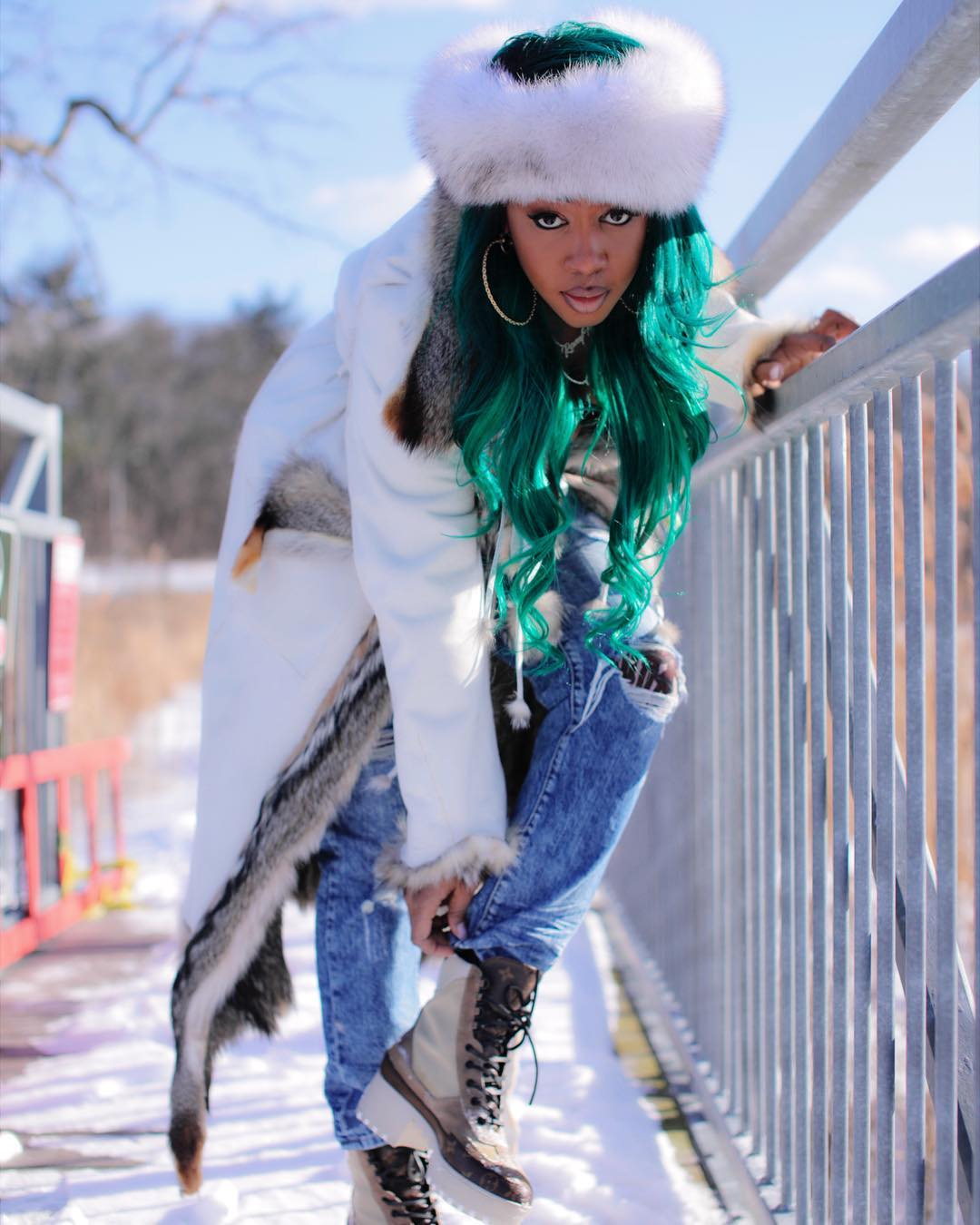Remy Ma green hair