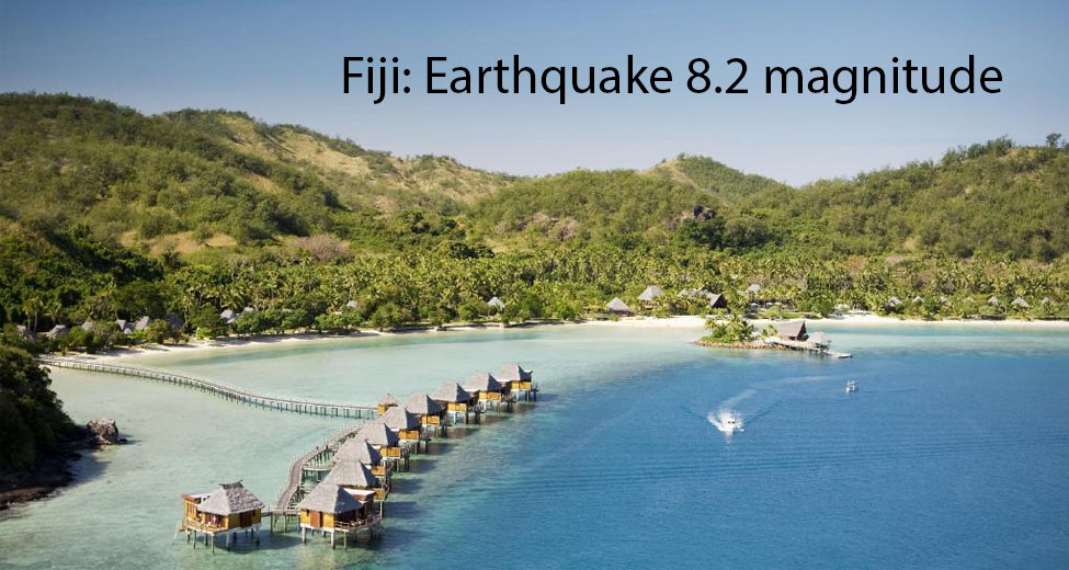 Fiji 8.2 Magnitude Earthquake Hits 443 Km. West of Neiafu. No Casualties Yet