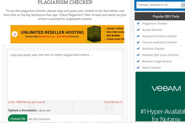 Free Online Plagiarism Checker At Small SEO Tools