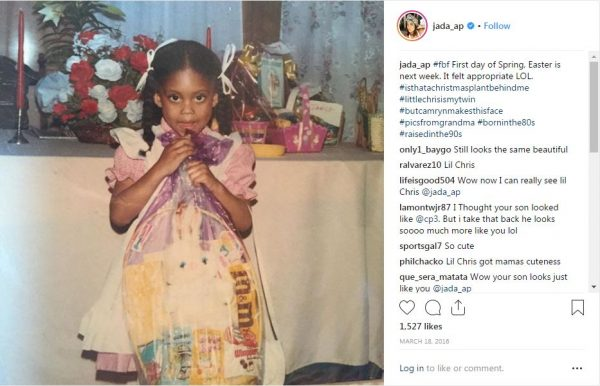 Jada Crawley's childhood picture which she shared on her Instagram.